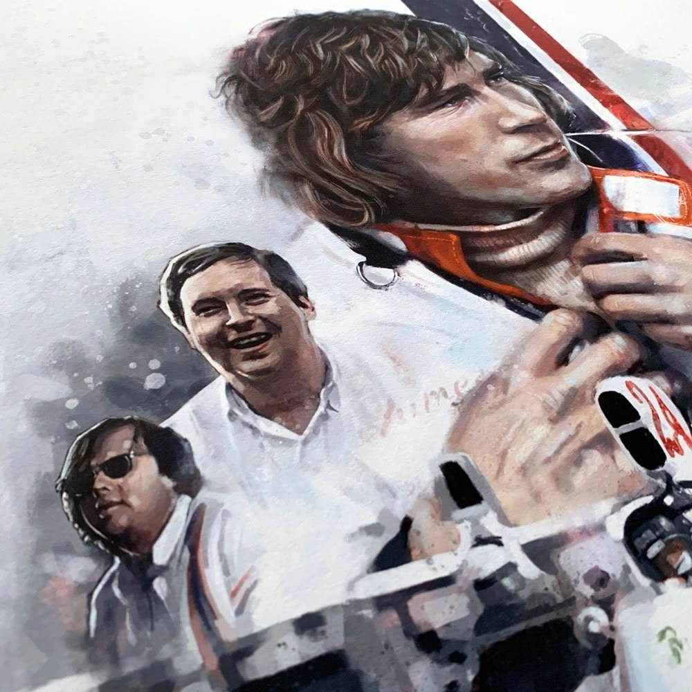 Detail of formula 1 driver and team