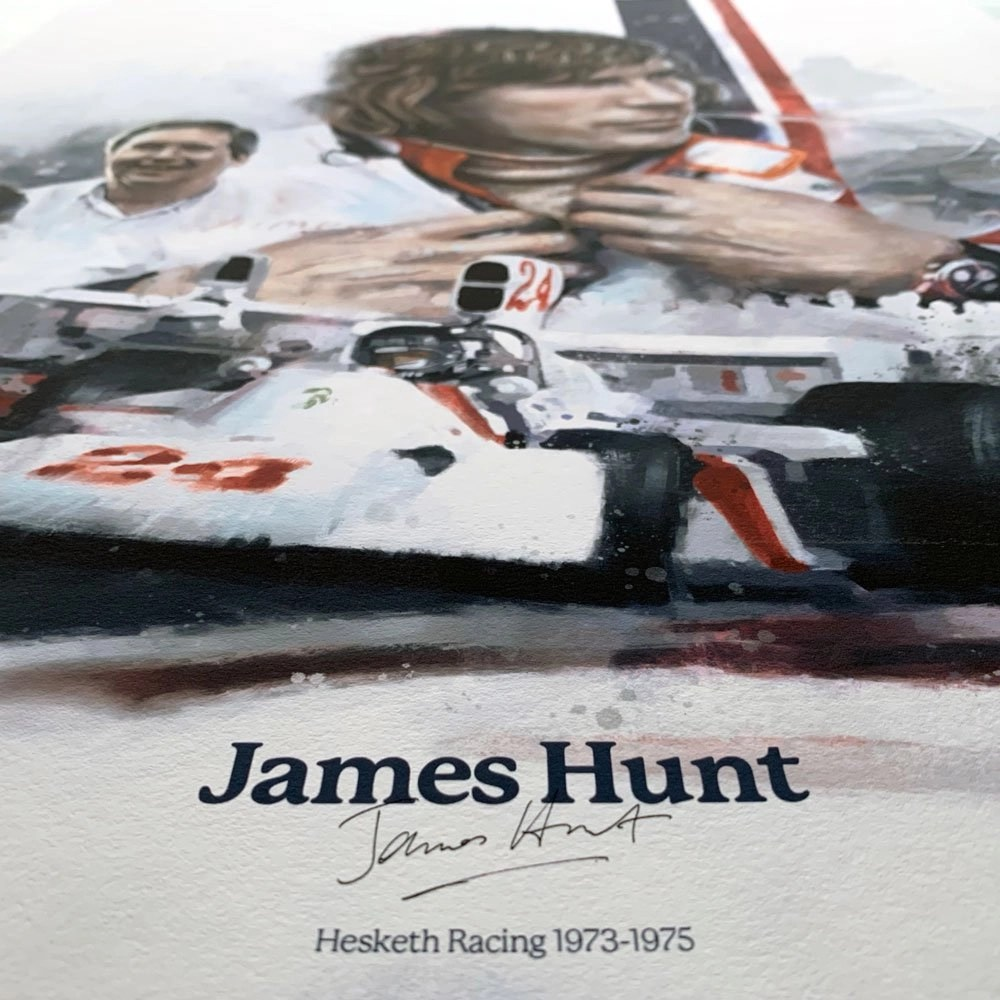 Detail of formula 1 poster with signiture
