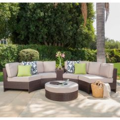 Oversized Outdoor Sofa Cushions 4 Seater Recliner 3pc Chaise Sectional Set With Ottoman