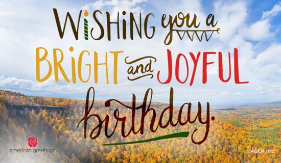Bright And Joyful Birthday Holiday Birthday Ecard
