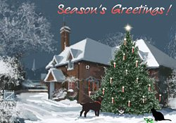 Season's Greetings! Christmas Cottage E Card By Jacquie Lawson