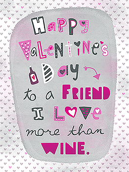 Wine Friends Card Valentine's Day Greeting Card