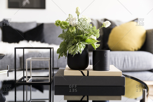 green and white flower arrangement on