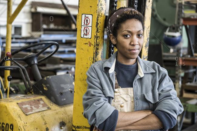 black woman factory worker
