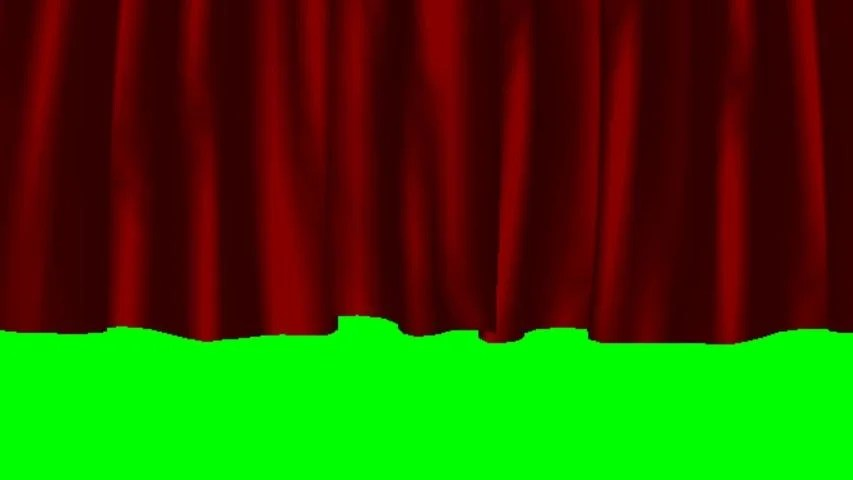 the opening of the red curtain against the background of a green screen open slowly for parties theater performances and stage entertainment