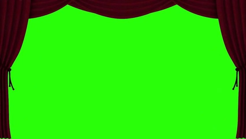 red curtain opening on green screen