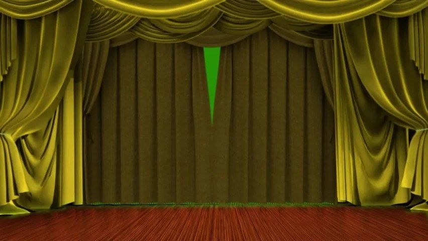 golden curtain on theater stage green screen
