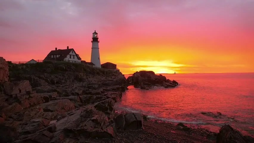 Sunset Wallpaper Hd Colored Lighthouse And Landscape Image Free Stock Photo