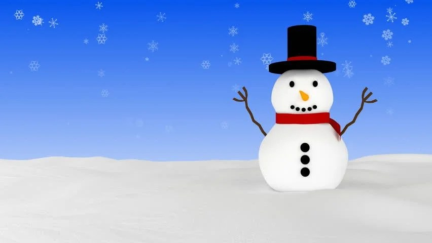 Wallpaper Hd Snow Falling Christmas Or New Year Snowman Animated Greeting Card 3d