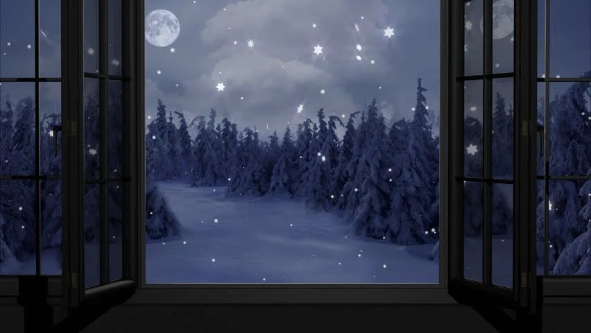 Snow Falling At Night Wallpaper New Year Christmas 3d Winter Background And Moon Stock