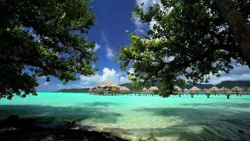 Overwater Boardwalk Luxury Bungalows In Tropical Aquamarine Lagoon Beach Vacation Resort Of Bora