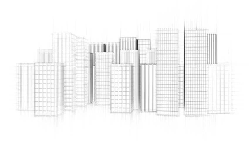 Stock Video Clip of architecture drawing of a city on