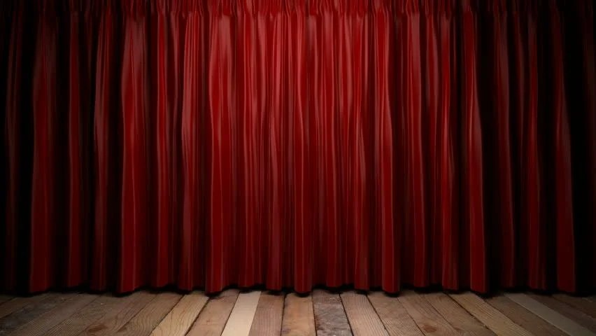 High Definition Clip Of An Opening Red Stage Curtain