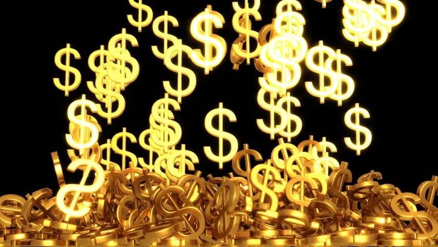 Money Falling Wallpaper Golden Dollar Sign Storm Surge Stock Footage Video 100