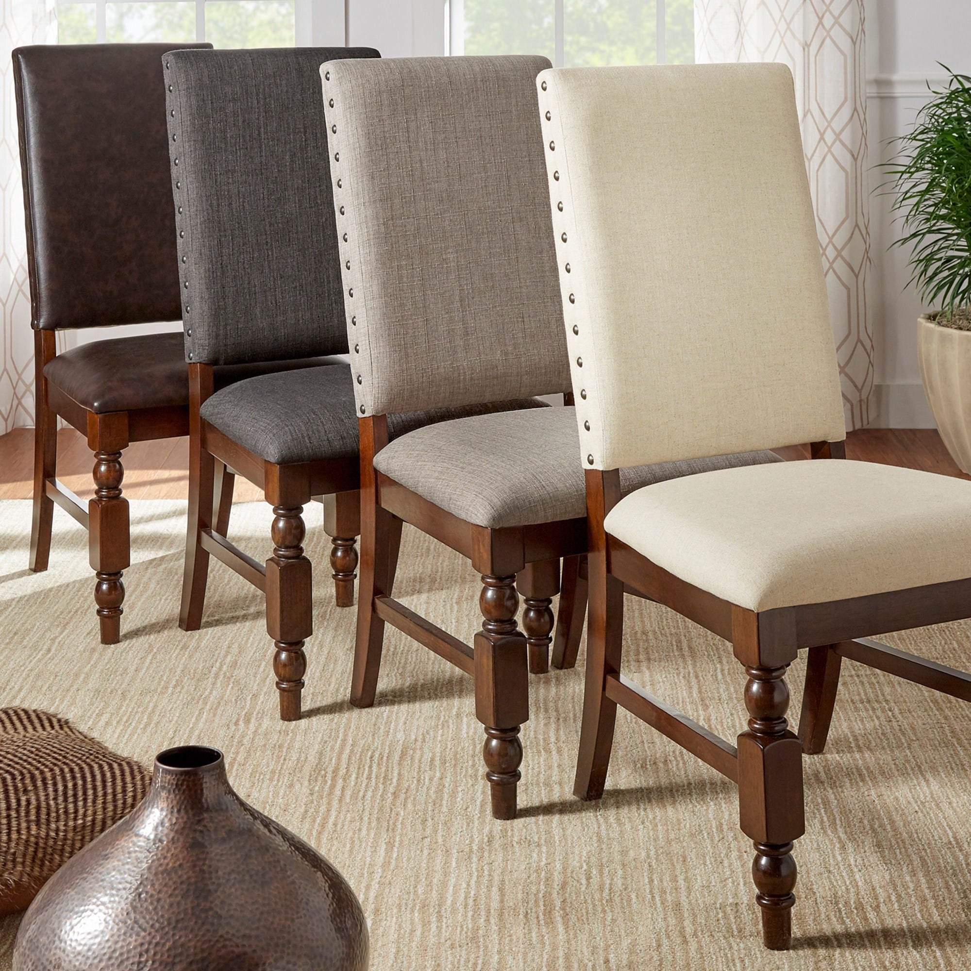 nailhead upholstered dining chair flight recliner review shop flatiron chairs set of 2 by inspire q classic