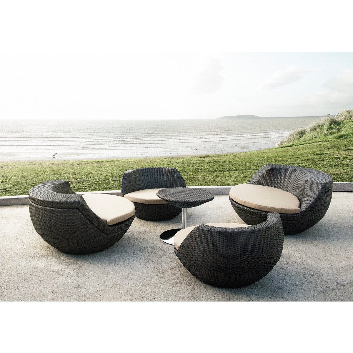 Rattan Egg Chair Set Renava Ovum Modern Brown 5 Piece Egg Shaped Patio Set