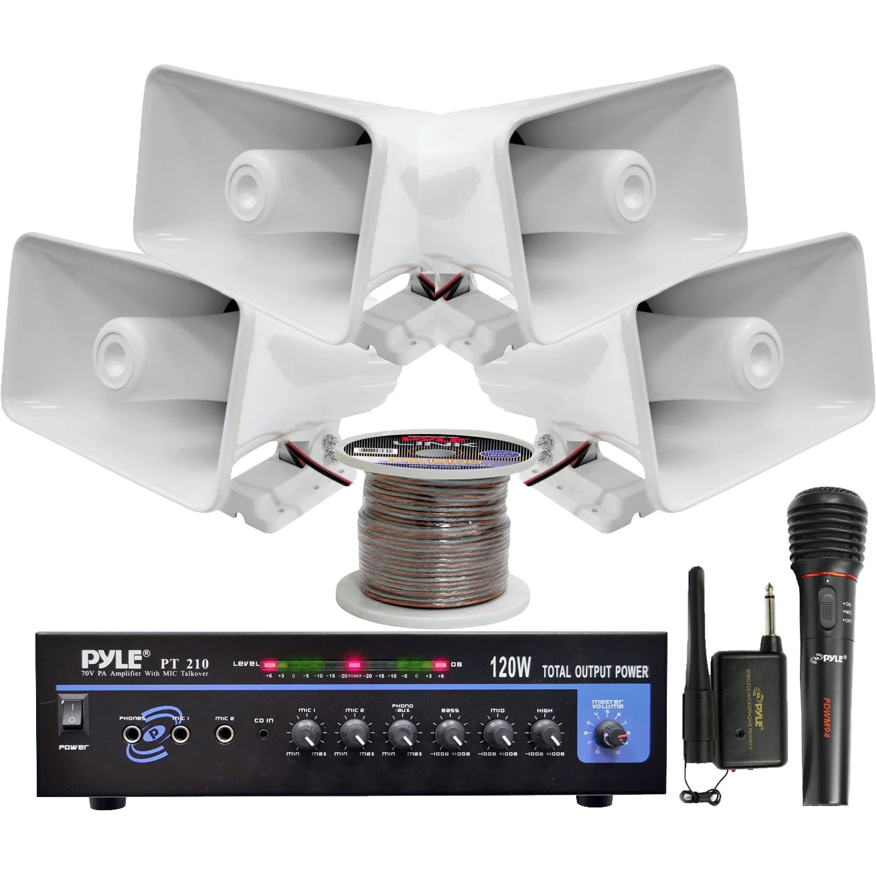 hight resolution of shop pyle kthsp330 120w pa amplifier system with 4 horn speakers wireless microphone speaker wire free shipping today overstock com 10119248
