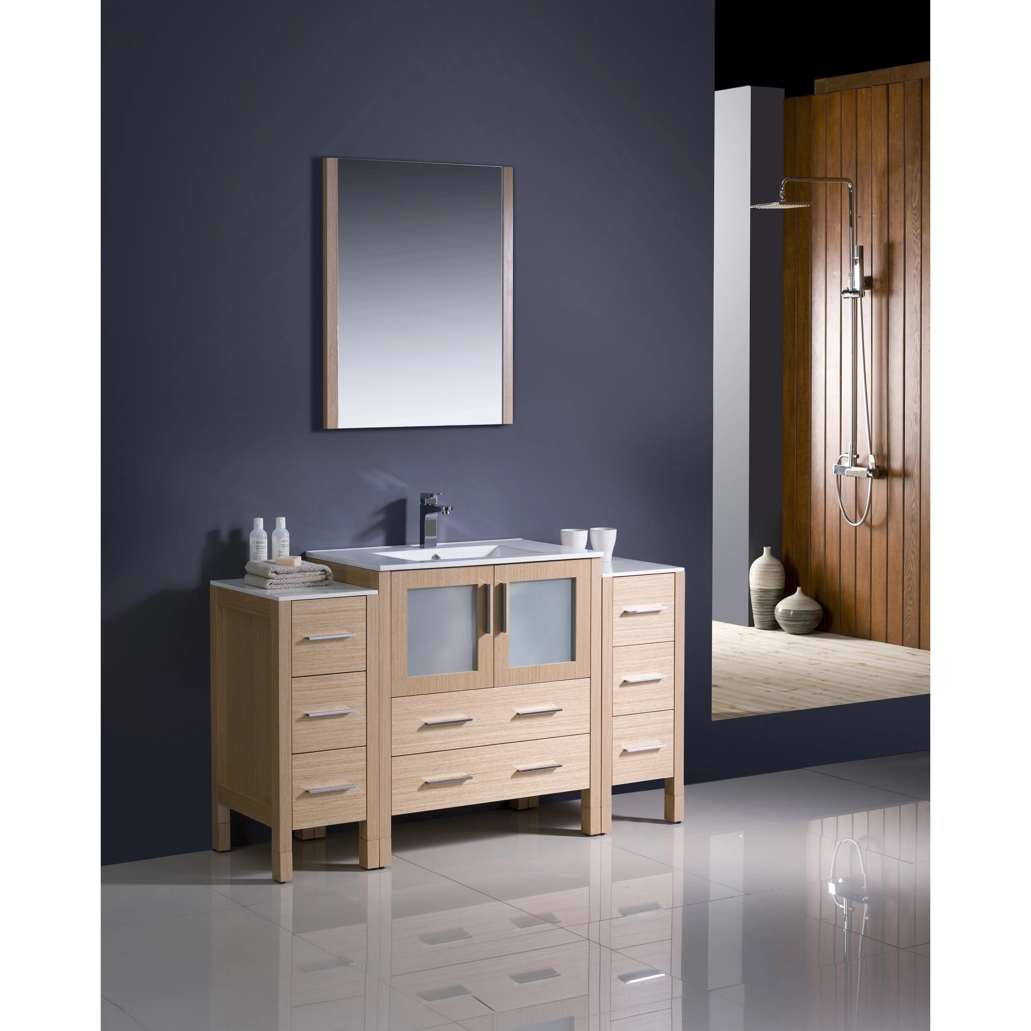 54 Bathroom Vanity Fresca Torino 54 Inch Light Oak Modern Bathroom Vanity With 2 Side Cabinets And Undermount Sink