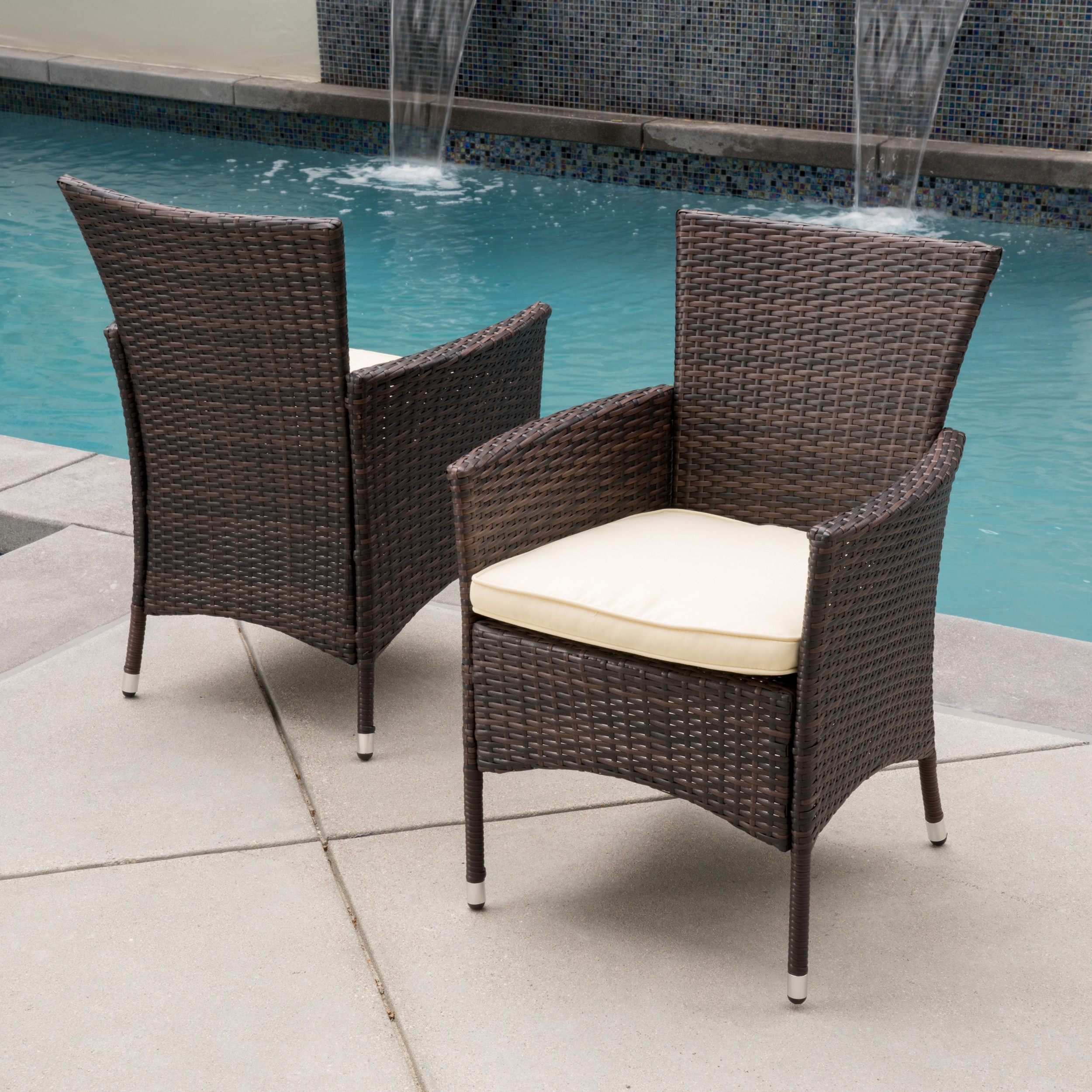 Outdoor Wicker Dining Chairs Malta Outdoor Wicker Dining Chair With Cushion By Christopher Knight Home Set Of 2
