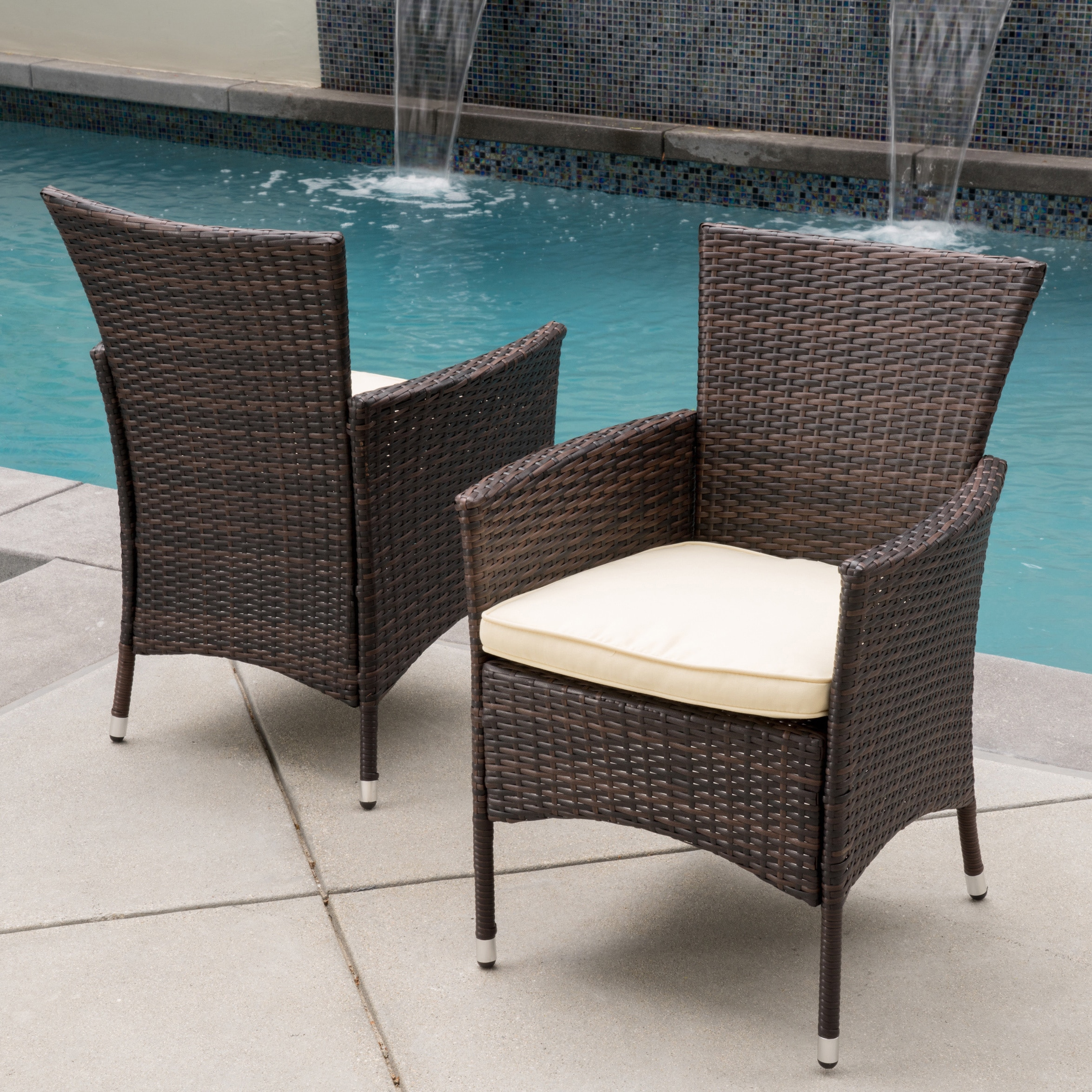 Outdoor Chair Set Malta Outdoor Wicker Dining Chair With Cushion By Christopher Knight Home Set Of 2