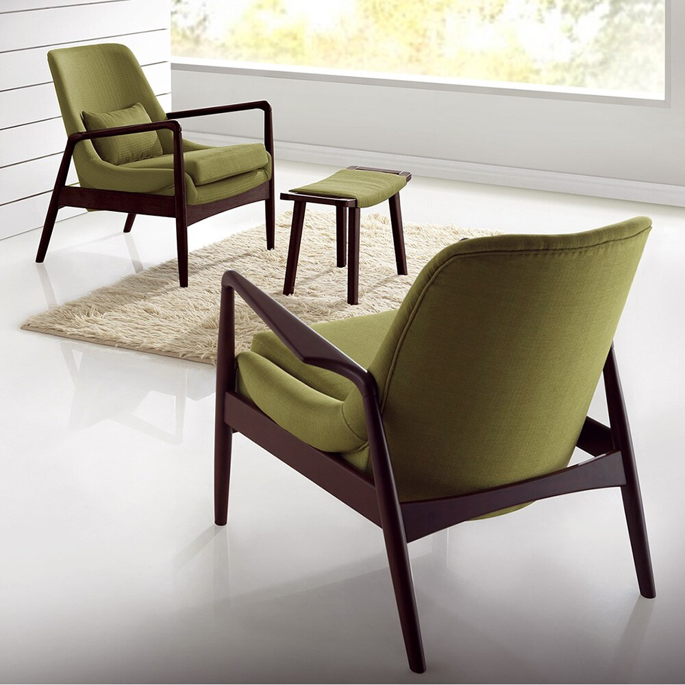Green Upholstered Chair Dixon Mid Century Modern Walnut Wood Finished Green Fabric Upholstered Lounge Chair