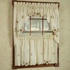 Kitchen Curtians How To Paint Your Cabinets Shop Embroidered Sunflower Curtains Separates Tier Swag And Valance Options On Sale Free Shipping Orders Over 45 Overstock Com