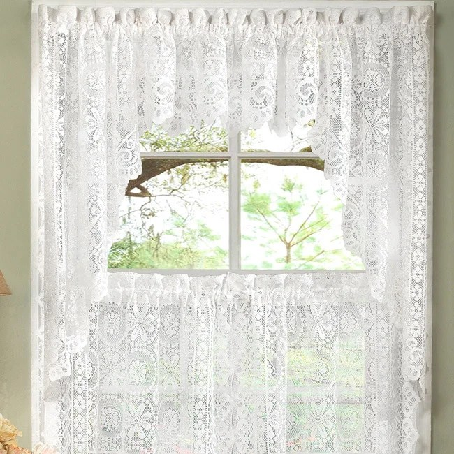 kitchen curtians cabinet sale shop white lace luxurious old world style curtains tiers shade or valances on free shipping orders over 45 overstock com 10199207