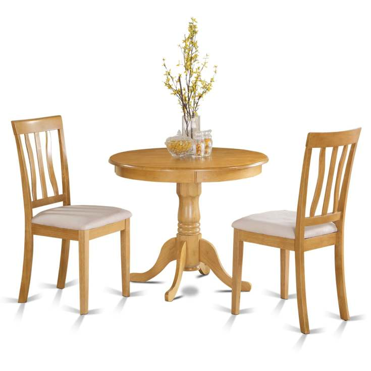 shop oak small kitchen table plus 2 chairs 3-piece dining set - free