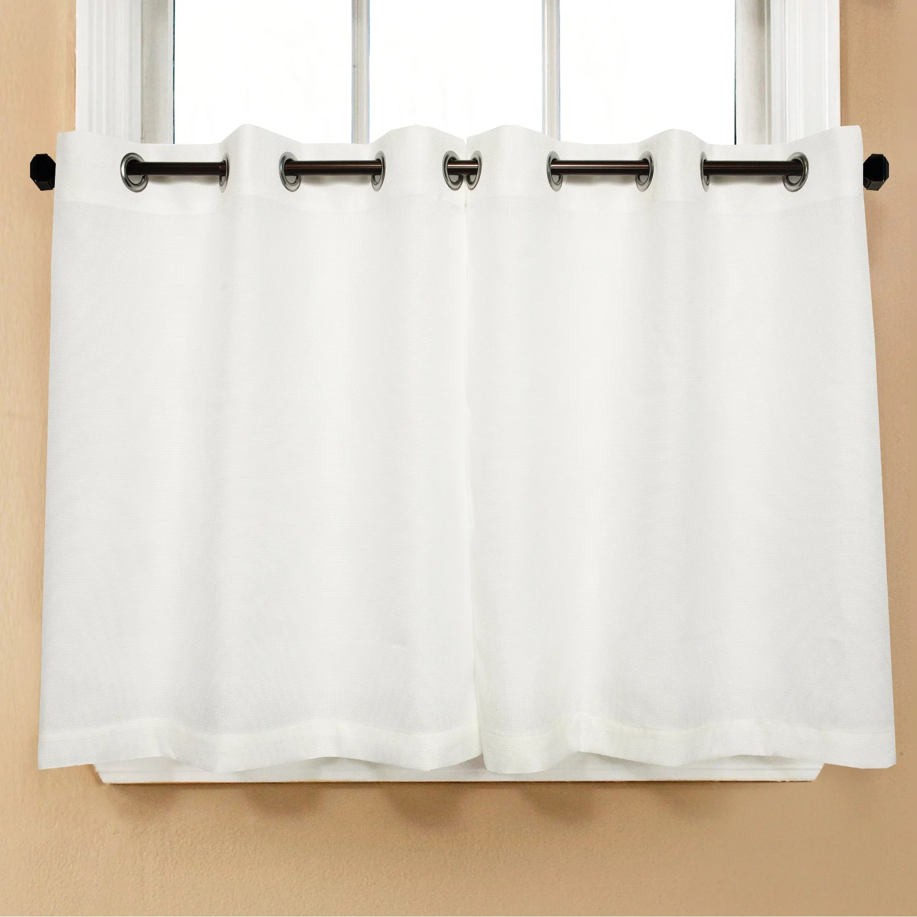 grommet kitchen curtains mobile islands for kitchens shop modern subtle texture solid white curtain parts with grommets tier and valance options