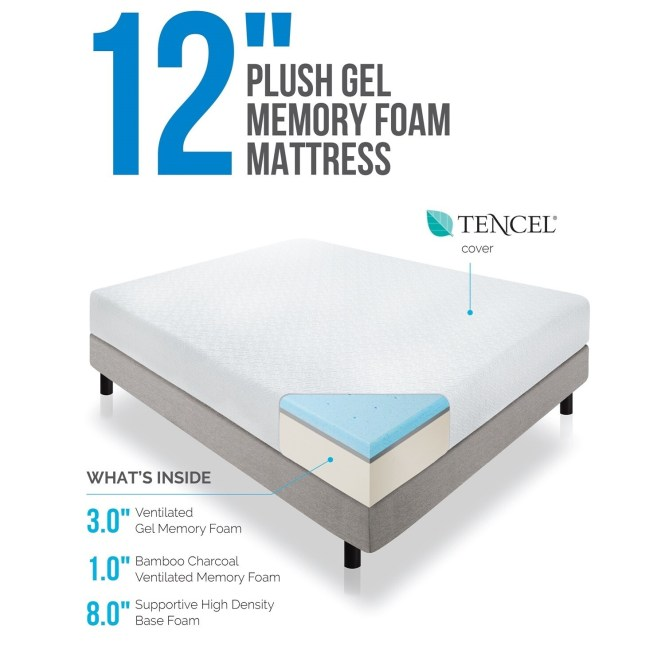 Lucid 12 Inch Queen Size Plush Gel Memory Foam Mattress Free Shipping Today 17391753