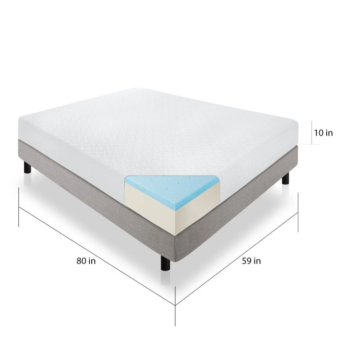 Lucid Comfort Collection 10 Inch Queen Size Gel Memory Foam Mattress Free Shipping Today 17391754