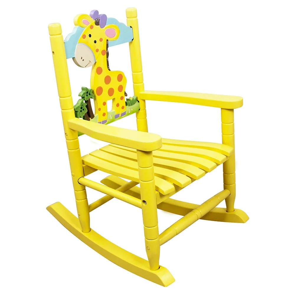 rocking chair kids stool with cushion shop teamson safari giraffe free shipping