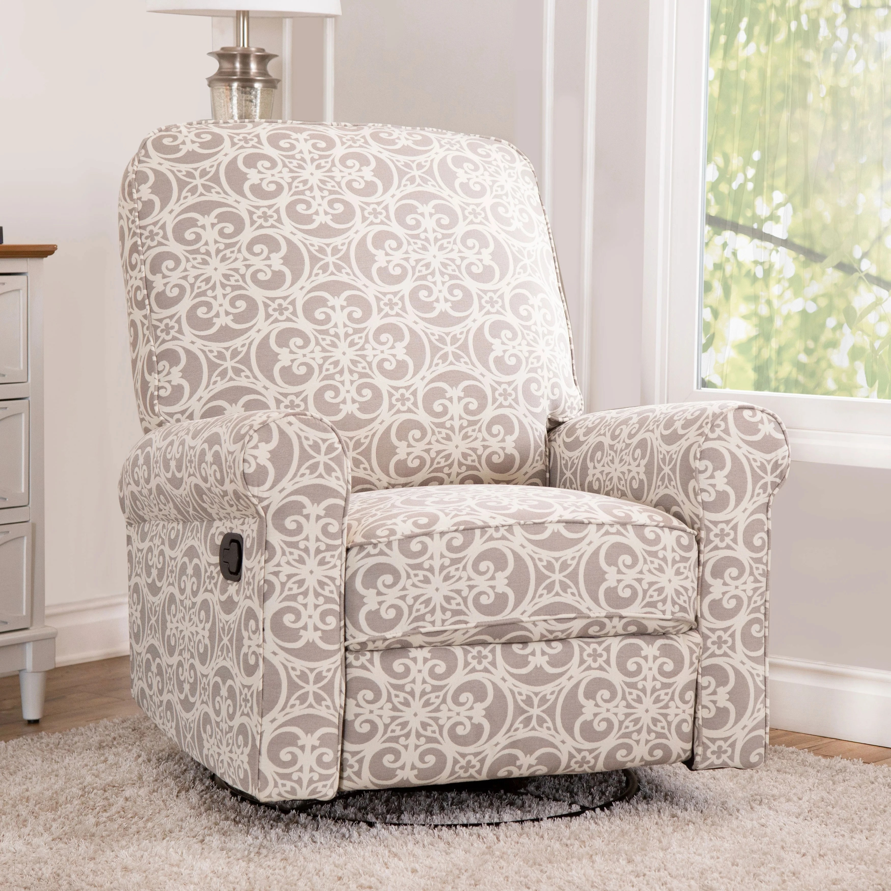 glider recliner chair spandex covers vs polyester shop abbyson perth grey floral fabric swivel