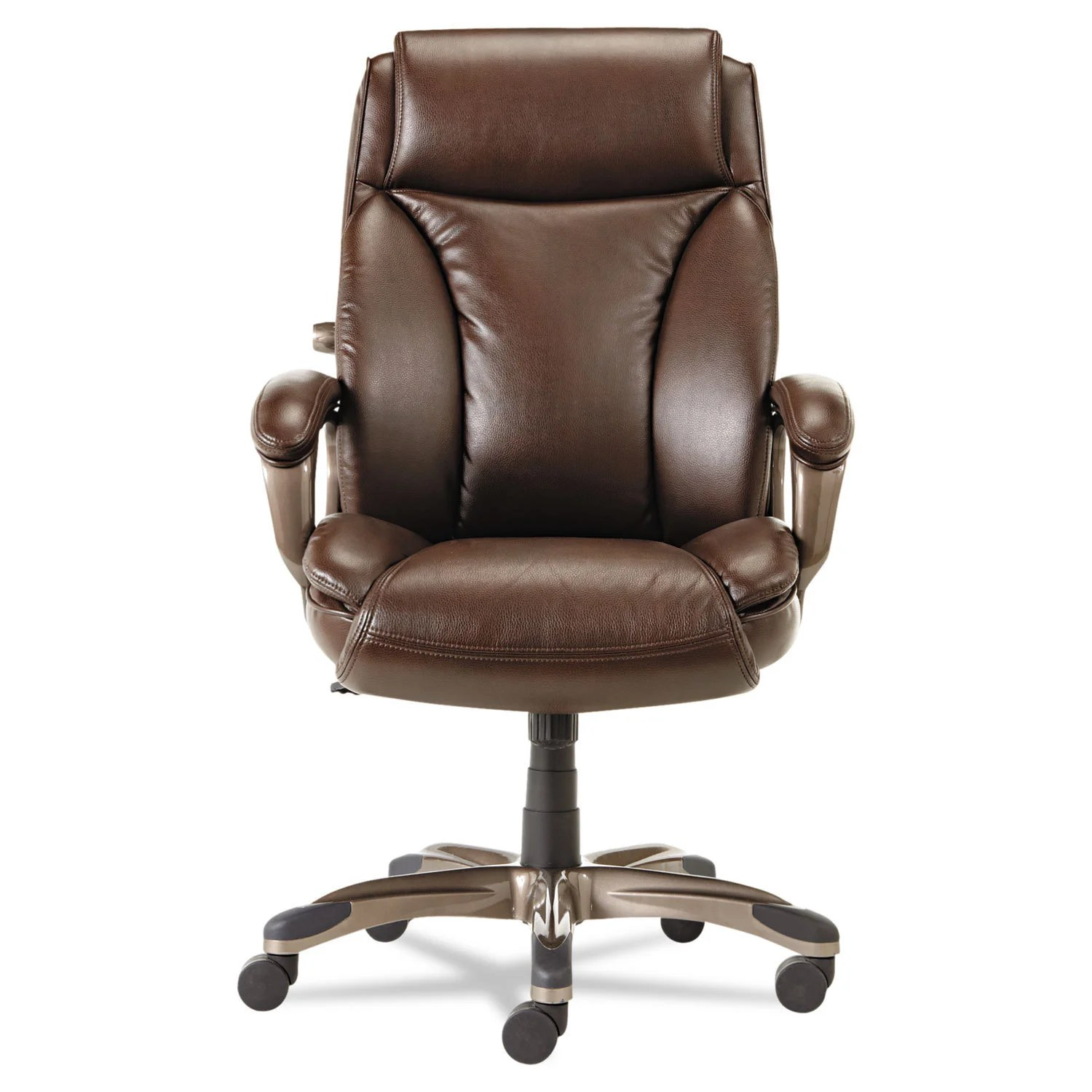 Executive Leather Chair Alera Veon Series Brown Executive High Back Leather Chair W Coil Spring Cushioning