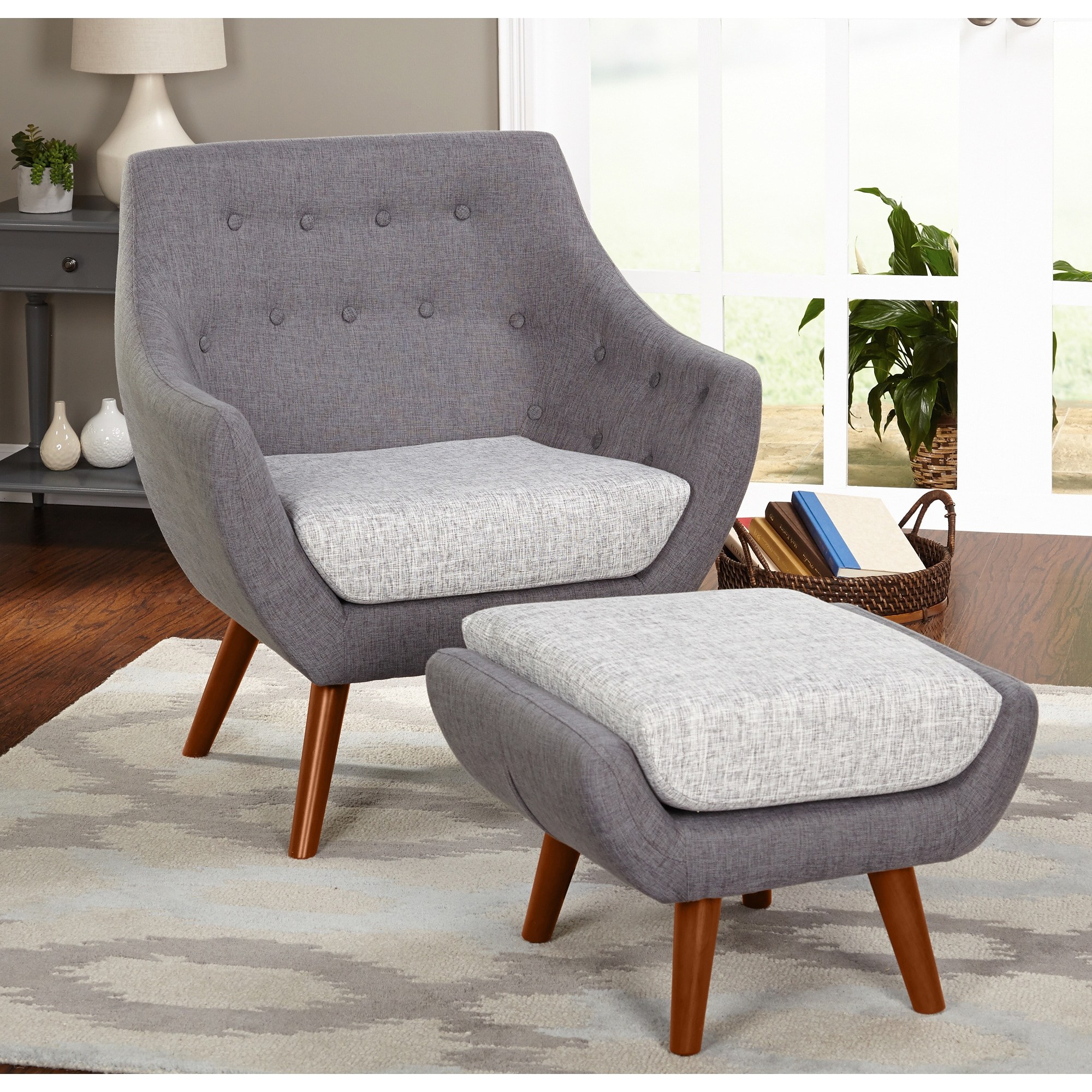 Chair And Ottoman Set Simple Living Elijah Mid Century Gray Chair And Ottoman Set