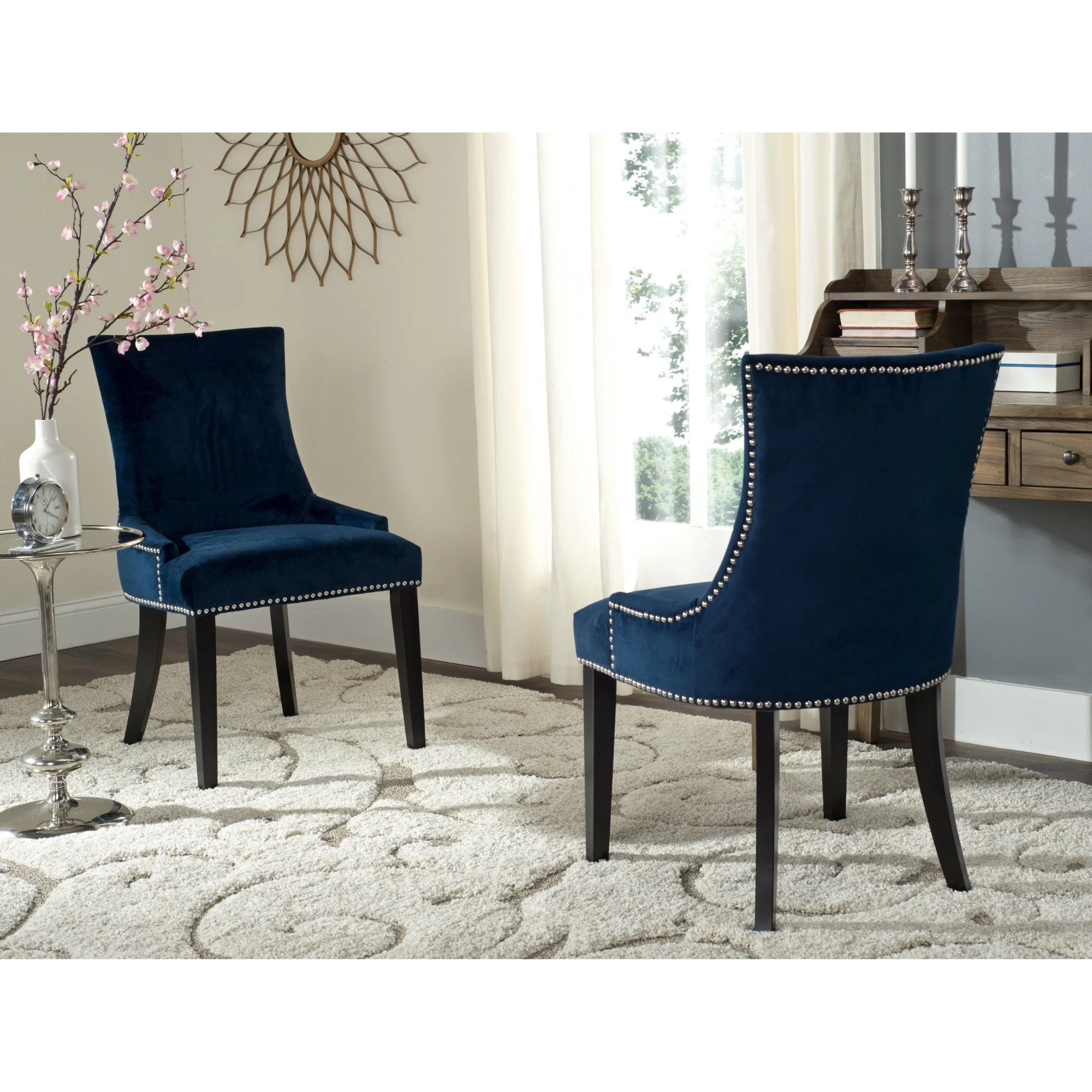 hight resolution of safavieh dining lester navy dining chairs set of 2