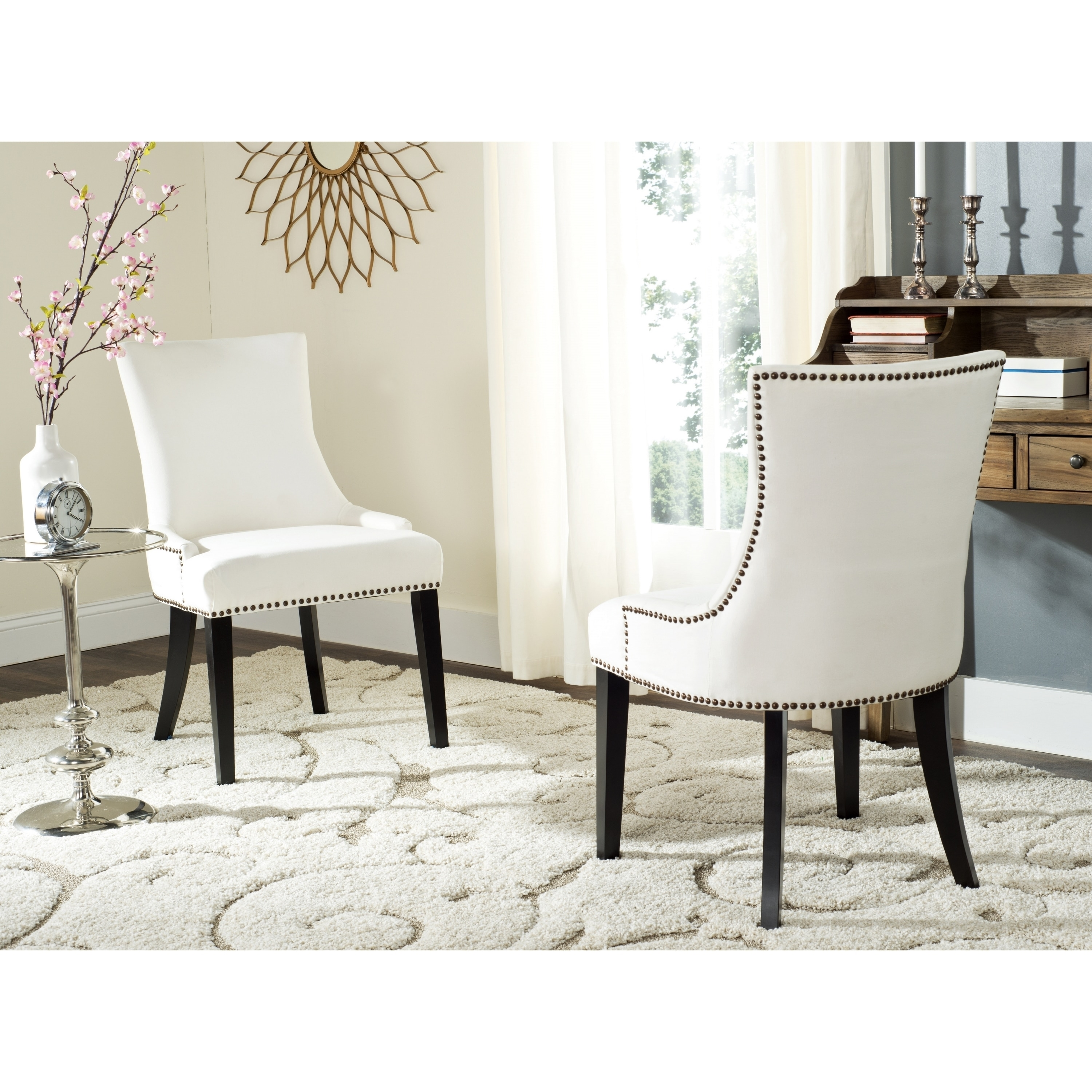 White Dining Chairs Safavieh En Vogue Dining Lester White Dining Chairs Set Of 2