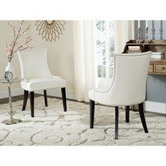 White Leather Chairs Dining Threaded Chair Glides Shop Safavieh En Vogue Lester Set Of 2 On Sale Free Shipping Today Overstock Com 10353794