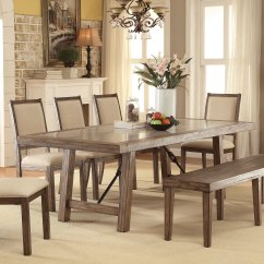 Stone Top Kitchen Table Slate Flooring Shop Furniture Of America Bailey Rustic Weathered Elm Dining Oak