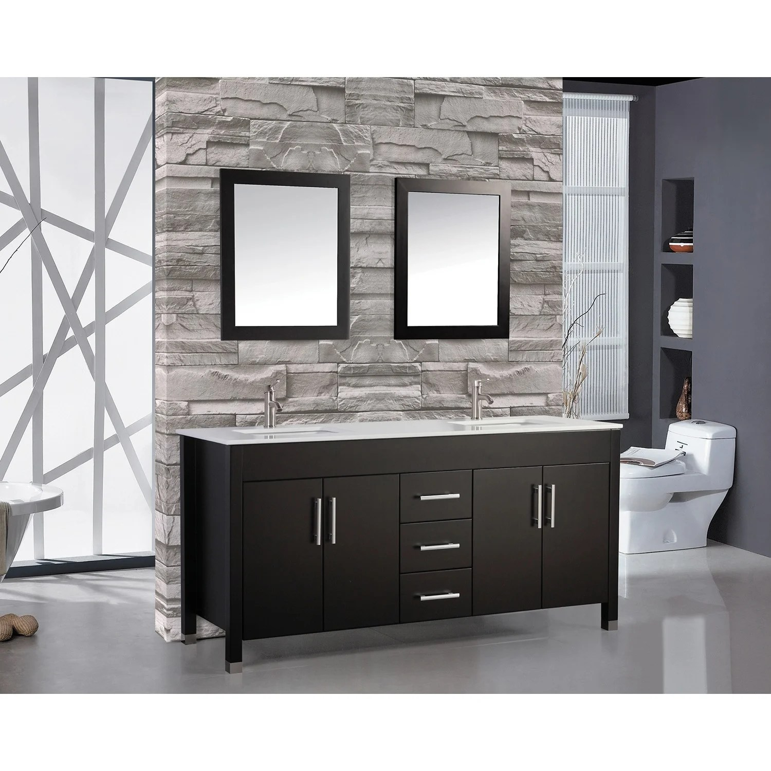 Vanities Bathroom Mtd Vanities Monaco 72 Inch Double Sink Bathroom Vanity Set With Mirror And Faucet