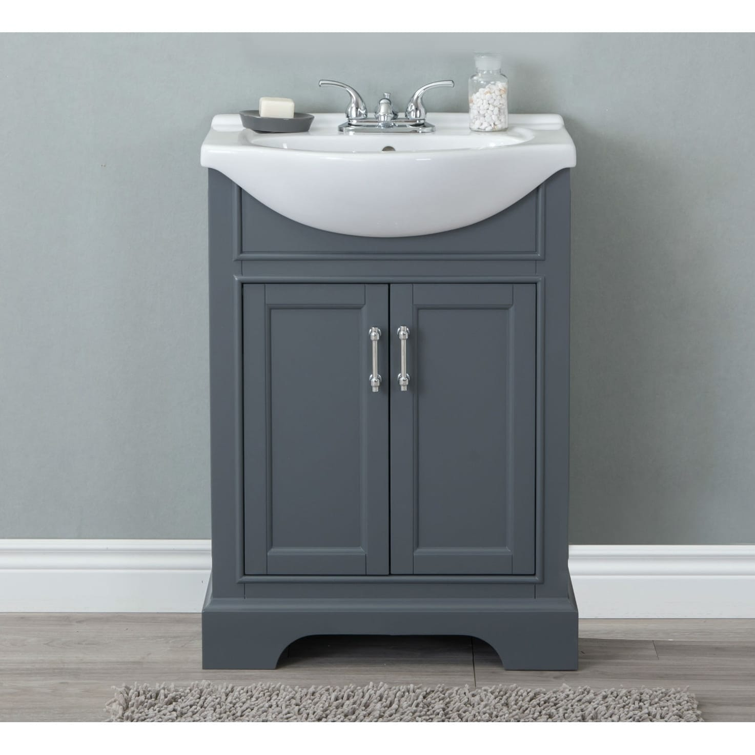 Dark Bathroom Vanity 24 In Bathroom Vanity In Dark Gray With Ceramic Top