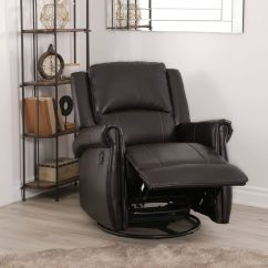 Chair And A Half Glider Recliner Where To Buy Cushions Shop Abbyson Elena Dark Brown Swivel On Sale