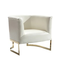 Contemporary Accent Chair Oxo Sprout High Replacement Tray Shop Armen Living Elite In White Leatherette And Gold Finish On Sale Free Shipping Today Overstock Com 10560878