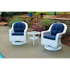 White Resin Wicker Chairs Christmas Dining Room Chair Seat Covers Shop Biloxi Outdoor 3 Piece Swivel Glider Set With Blue Cushions Free Shipping Today Overstock Com 10634495
