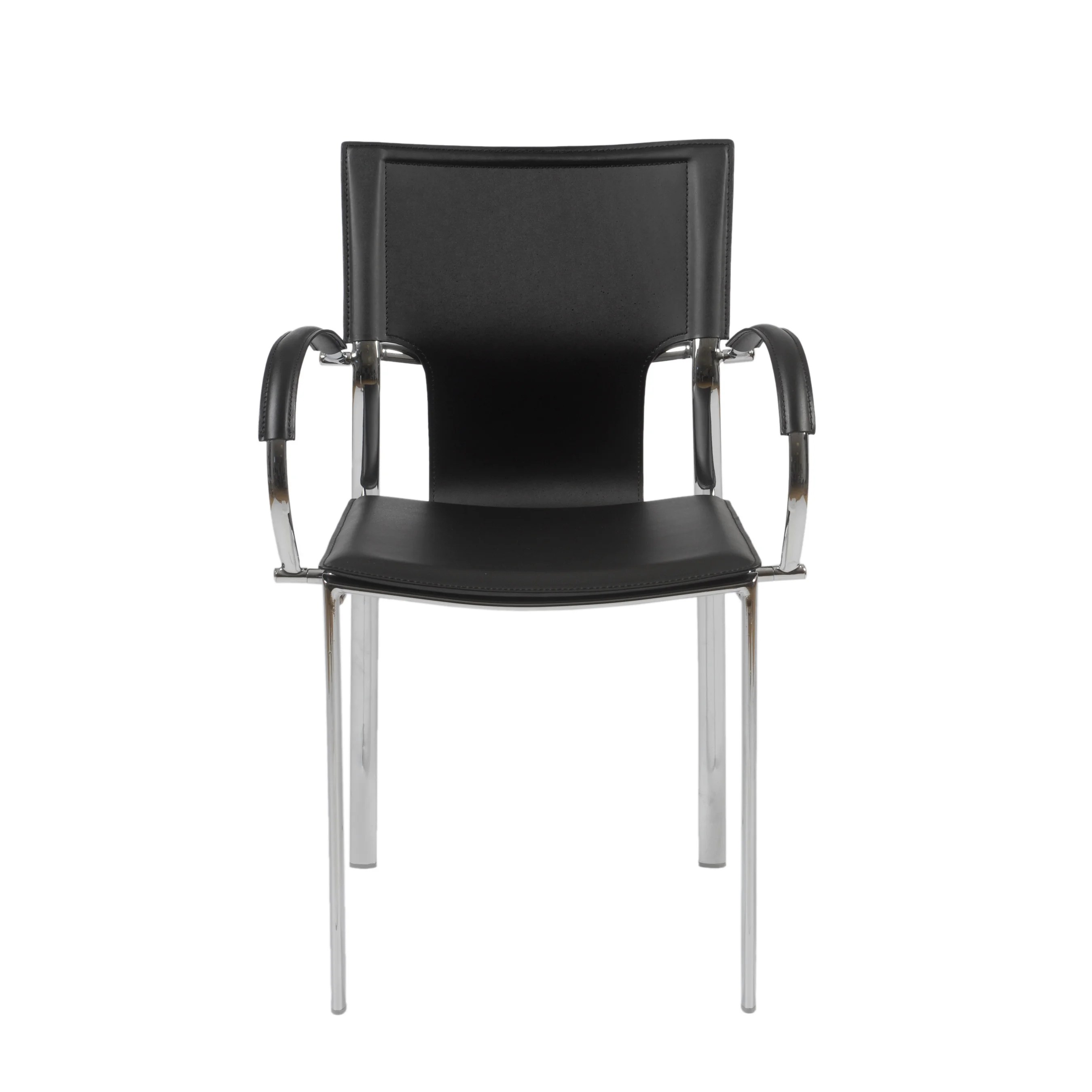 leather chrome chair best lounge chairs shop vinnie black arm set of 2 free