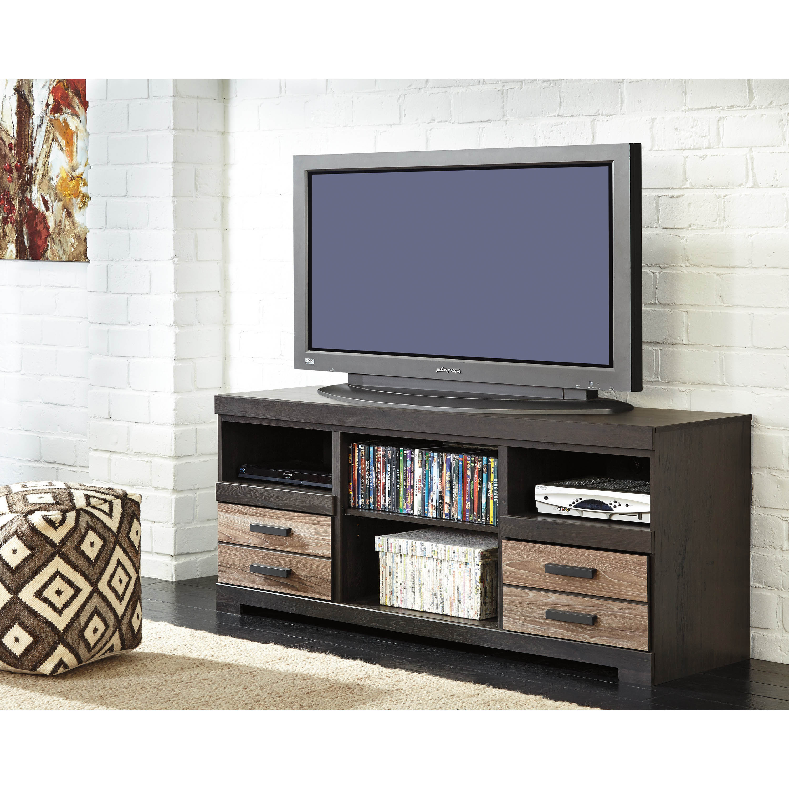 shop signature design by ashley harlinton warm gray lg tv stand free shipping today overstock com 10758621