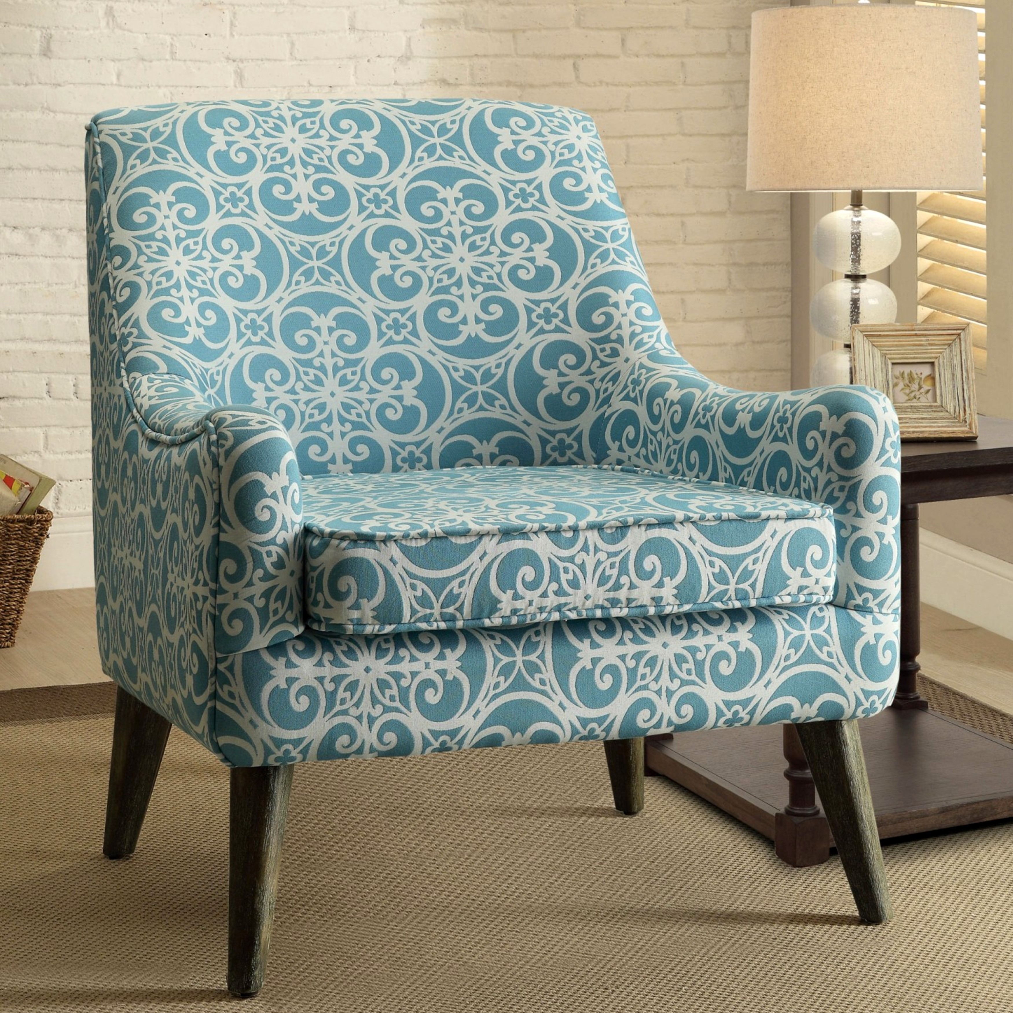 Blue Patterned Chair Monoco Estate Blue Patterned Living Room Accent Chair