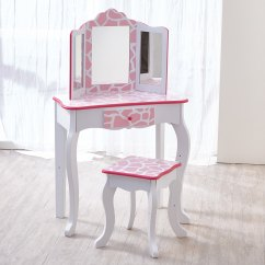 Pink Vanity Chair Country Song Rocking Shop Teamson Kids Fashion Prints Stool Set With Mirror Giraffe Baby White