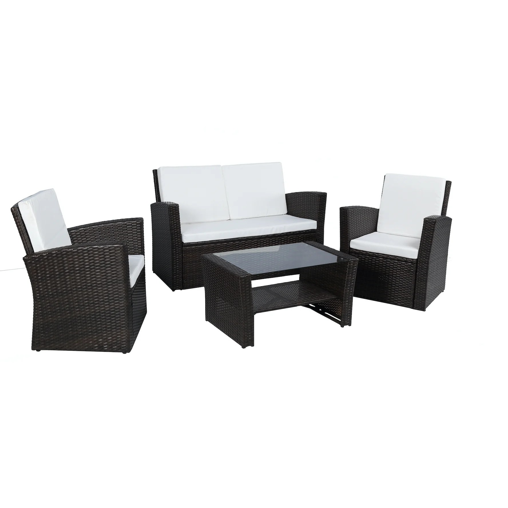 rattan garden chairs and table pub shop baner outdoor furniture complete patio 4 pieces cushion pe wicker set black