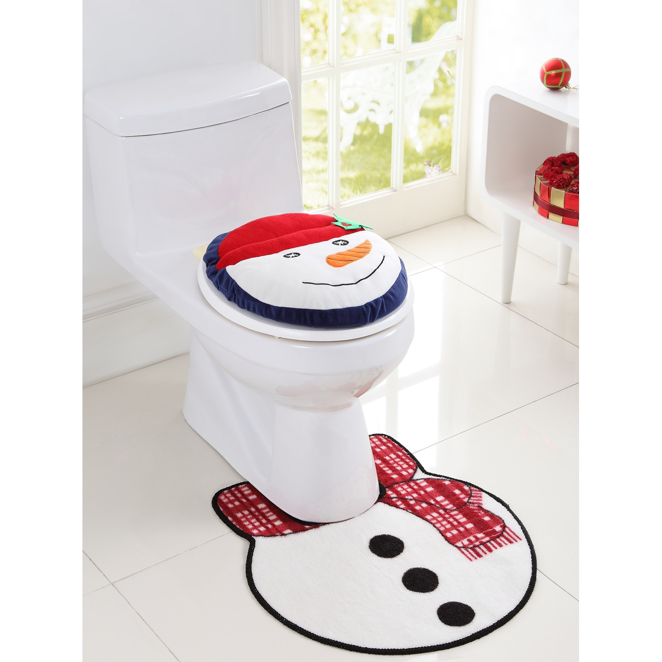 Snowman Bathroom Sets Vcny Holiday Themed Christmas Snowman 2 Piece Bath Rug Set Red White 20 X 22